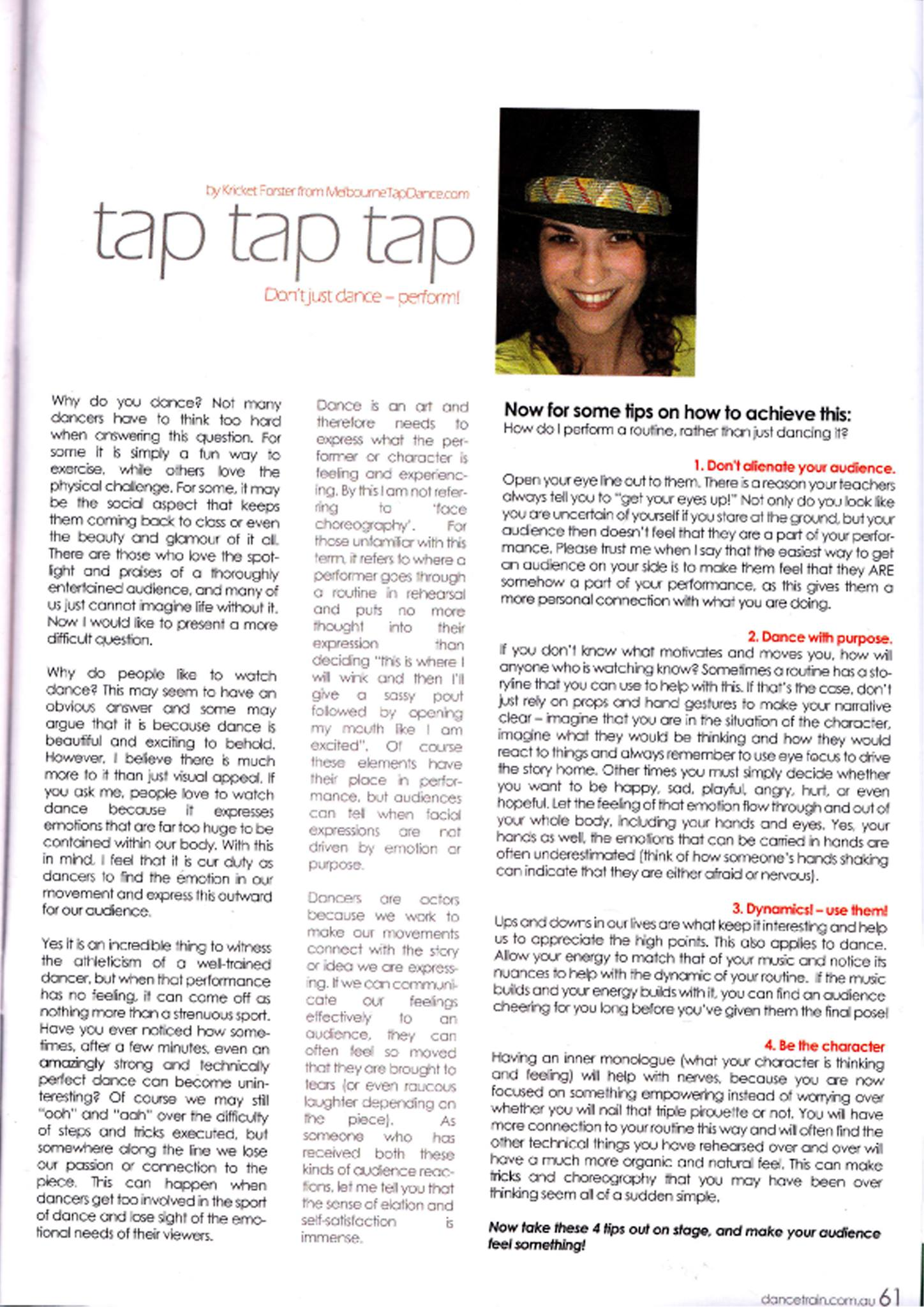 Krysten Forster Melbourne Tap Dance in Dance Train Magazine